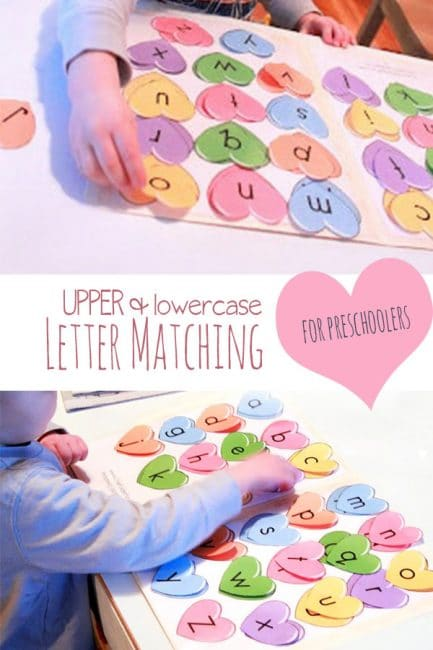 Match uppercase and lowercase letters with a hearts theme! Your preschooler will love this heart matching activity!