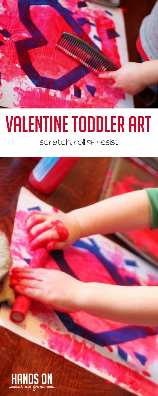 An easy Valentine's Day art project with your toddler is a fun way to explore painting techniques and texture.