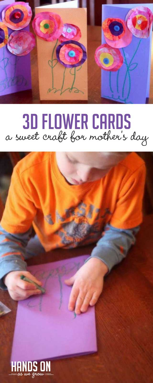 A 3D flower card is the perfect Mother's Day craft for kids to make! Craft these colorful cards with your children. It's a perfect art project for preschoolers and toddlers, with a little help. Moms, Aunts, and Grandmas will all love these sweet homemade cards!
