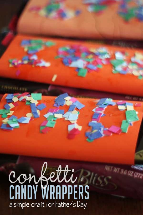 Confetti Sprinkled DIY Candy Bar Wrappers Craft to Make for Father's Day