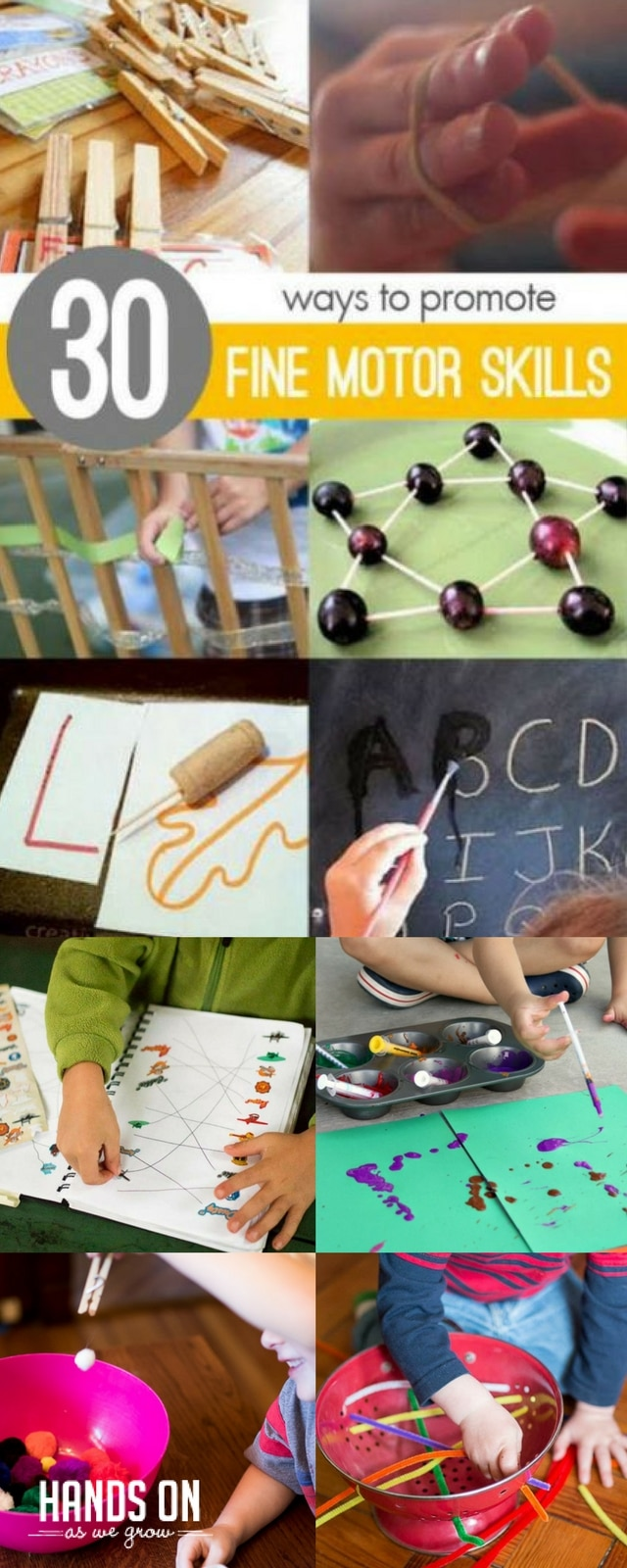 30 fine motor materials and activities for toddlers and preschoolers to work on fine motor skills.