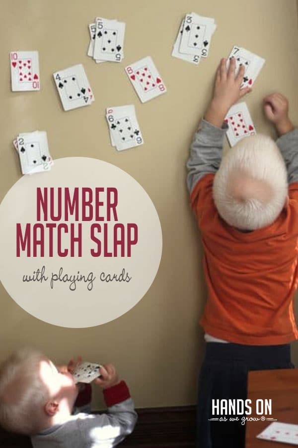 Play a fun number match game using just a deck of cards. Your preschooler or older toddler will love slapping down their matches and sticking them to the wall!