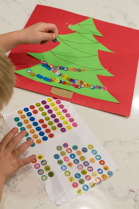 Sticker christmas tree craft for kids hands on as we grow for 2 year old christmas ornaments crafts