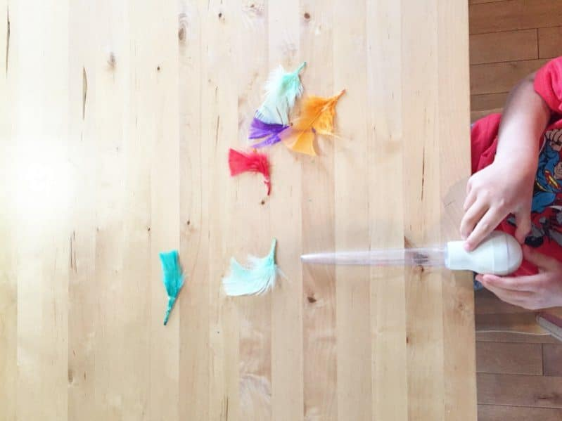 Challenge your child to move a feather across the floor or table by squeezing a turkey baster!