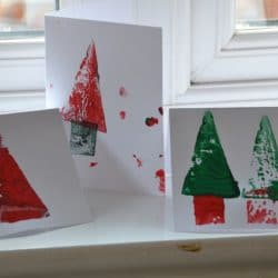 Potato Print Christmas Cards