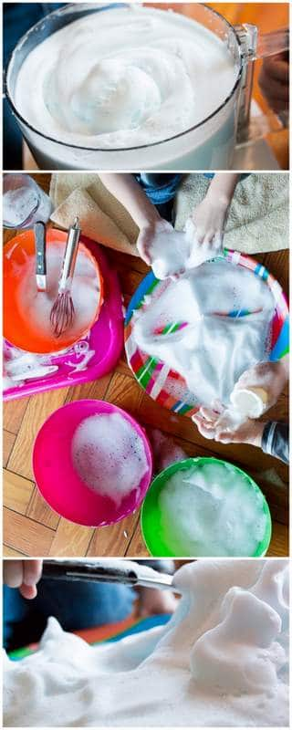 Your kids will love this messy soapy sensory foam activity! It's super simple to make with an easy clean-up, too.
