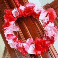 Use tissue paper to make a wreath, from Hands On As We Grow