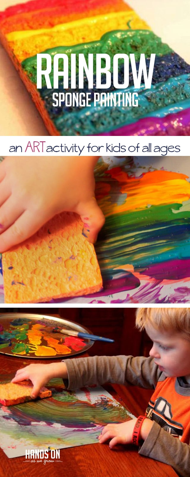 Use a cool tool to create colorful paintings! Rainbow sponge painting is a cool and super easy art activity for everyone.