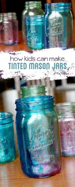 Marbleized tinted Mason jars - Learn how to tint Mason jars - the kids can even do it!
