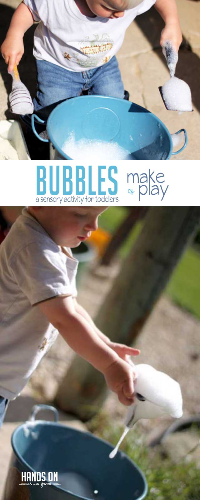 Making bubbles with soap is a super easy and fun sensory play activity for preschoolers.