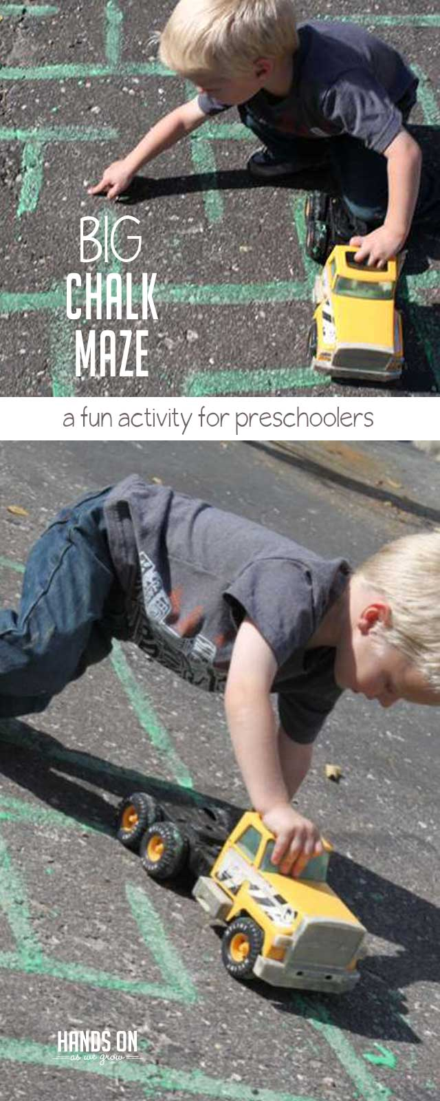 Make a big chalk maze for preschoolers using homemade sidewalk chalk paint. It's a fun and easy way to practice problem-solving. Plus, their cars and trucks will have the ideal place to drive around.