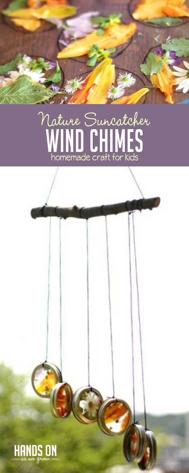 Super simple suncatcher wind chimes to make with your kids using flowers and leaves!