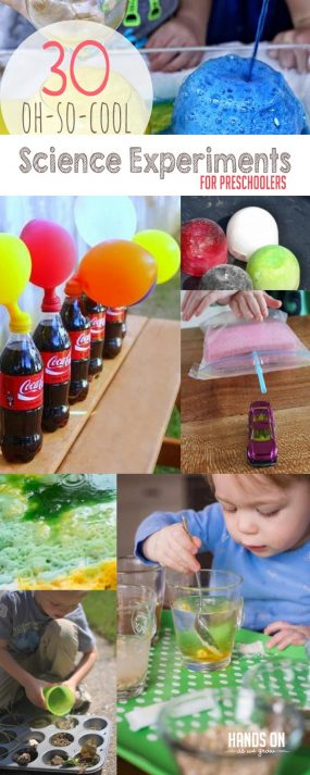 Science Experiments for Preschoolers   hands on : as we grow