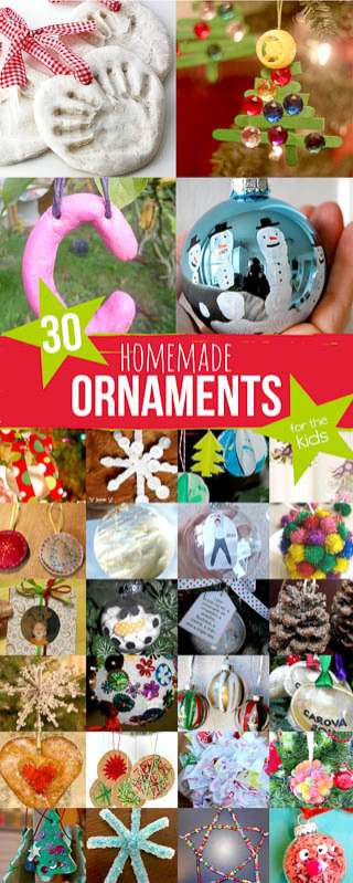 Thirty homemade ornaments to make with your kids for keepsakes, or just for fun!