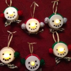 Light Up Snowman Family Ornaments
