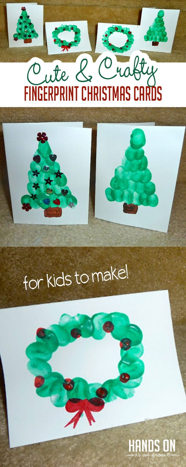 Cute & Crafty Fingerprint Christmas Cards for Kids to Make | HOAWG
