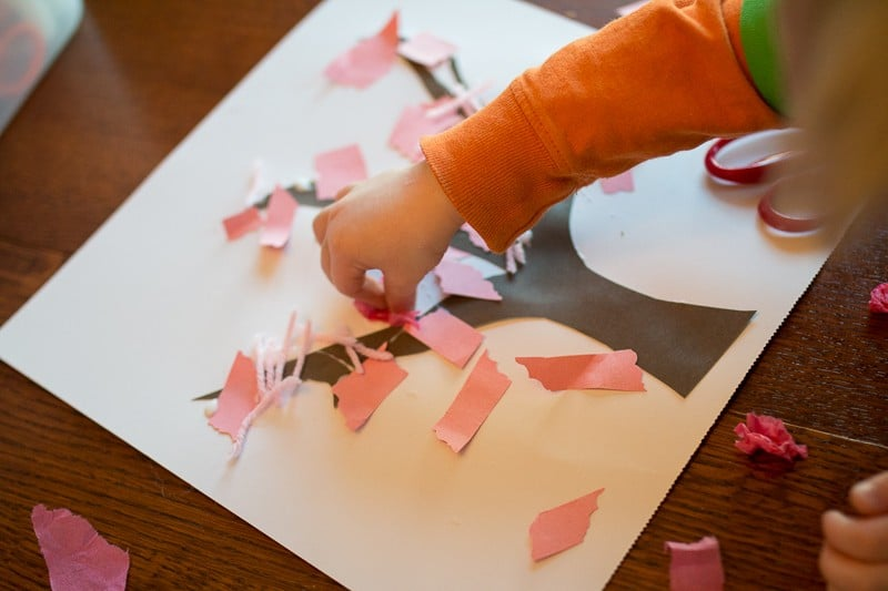 sparkly spring tree craft for toddlers to make
