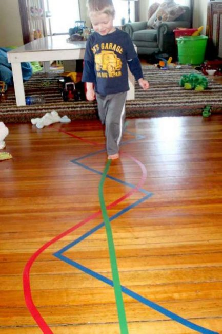 Walk the line is a great balancing activity for toddlers and preschoolers