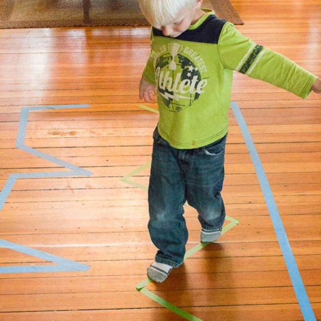 Walk the line activity is great for balance!