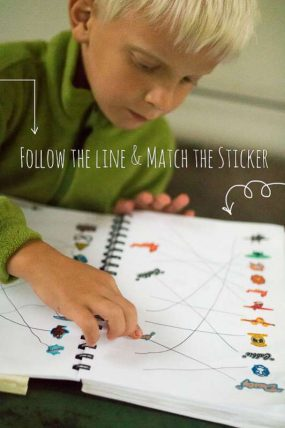 Follow the line and the match the stickers to complete the page