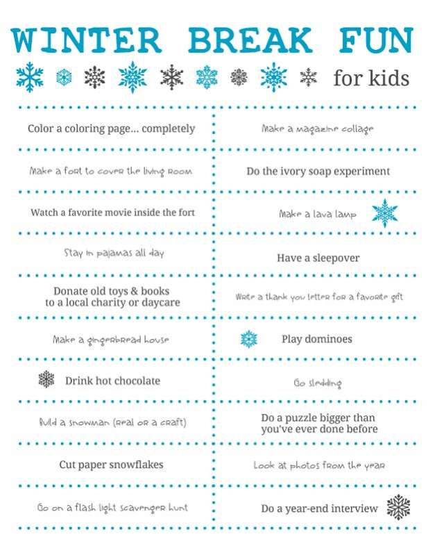 Fun Things To Do Over Winter Break For The Kids Need Print Out