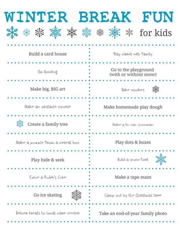 Fun Things to Do Over Winter Break for Kids + Free Printable