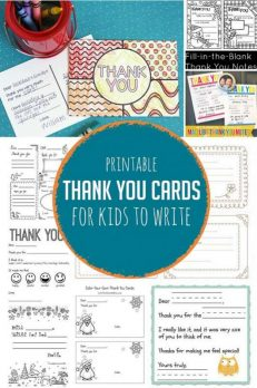 Simple printable thank you cards for kids to write to gifts they loved getting