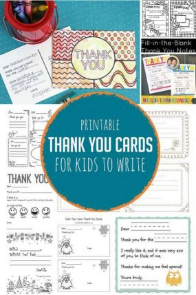 Printable Thank You Cards for Kids to Write