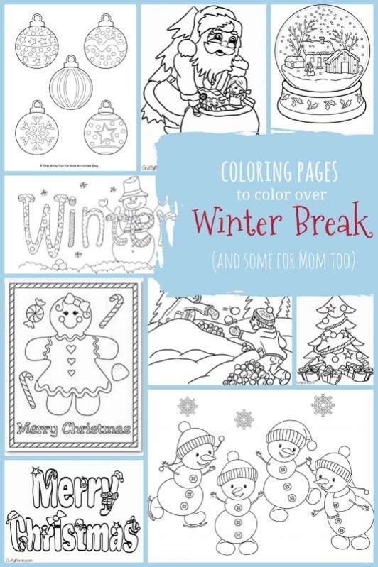 winter break coloring pages for kids and adults both winter and christmas