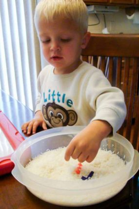 """I Spy My Name"" Rice Sensory Bin"