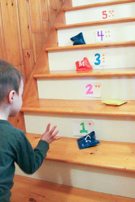 Bean Bag Toss On Stairs | Rainy Day Activities | 32 Fun Things For You And Your Kids To Do Indoors