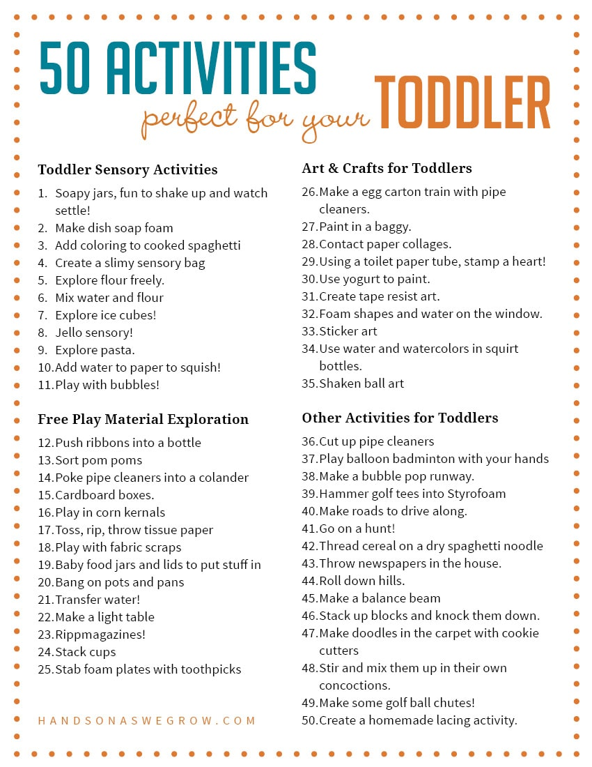 50 Fun Toddler Activities Including Sensory Art And Craft Ideas Material Explorations Other