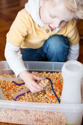 Cereal Sensory Bin for Toddlers