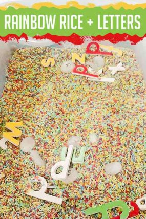 Rainbow Rice Letter Learning Sensory Bin