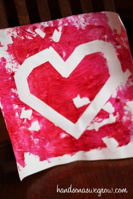 textured heart painting activity for valentines day - Valentines Day Activities For Kids