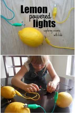 Lemon battery experiment! Using lemons to light an LED. So cool!