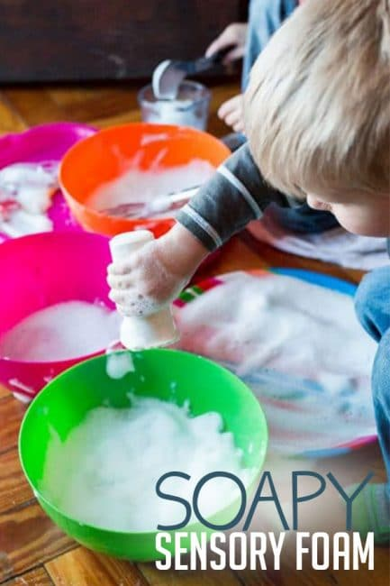 Let your kids have messy fun with this sensory foam activity!