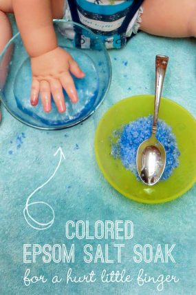 Salt Color Soak Sensory Activity for Hurt Little Fingers