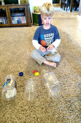 Matching game with bottles and caps