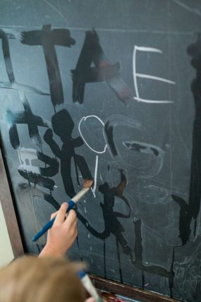 Trace to Erase the Letters on the Chalkboard