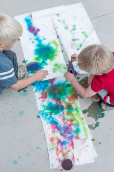 Get creative on a paper towel! A fun art project for preschoolers to enjoy the process.