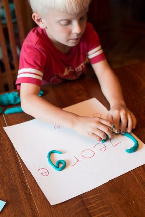 Strengthening Hands with Play Dough Names