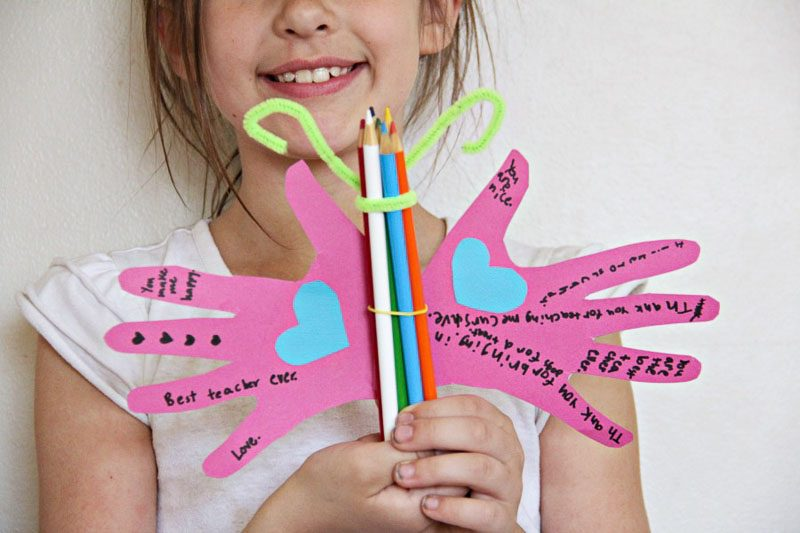 Easy teacher appreciation crafts are fun for kids to make and this butterfly colored pencil craft is so cute.