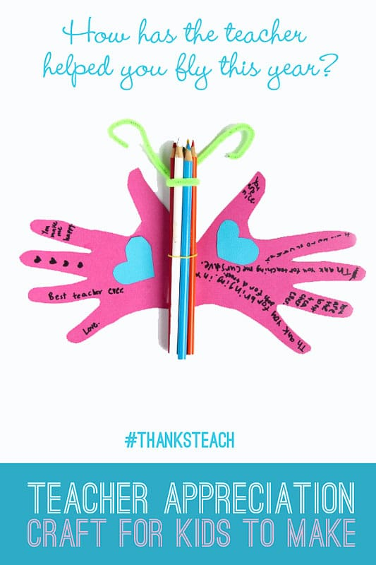 This butterfly teacher appreciation craft is cute and fun for kids to make and give to their teachers at the end of the school year!