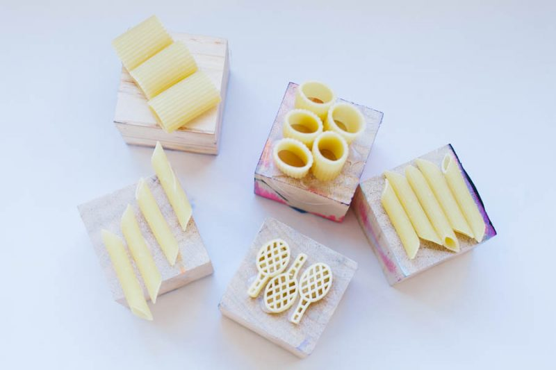 Make fun and easy DIY pasta stamps with kids.