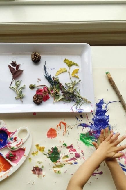 Nature painting with a leaf print