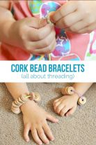 Cork Beads Bracelets are a fun fine motor activity for kids.
