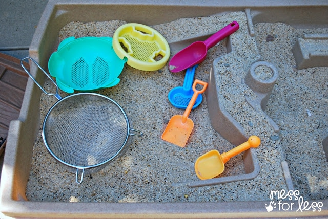 "Sandbox Activities for Kids -- Go panning for gold. Mess for Less shares how to turn a sand table into a gold panning expedition. This would be even more fun on a larger scale in a sandbox! The kids can make their own ""gold nuggets"", hide them in the sandbox, and then set about digging and panning for them."