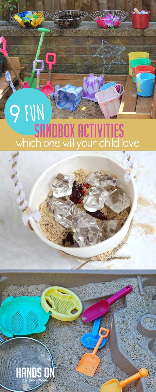 Add a twist to your normal sandbox activities with 10 creative ideas that are perfect for sensory bins, in the sandbox, or at the beach!