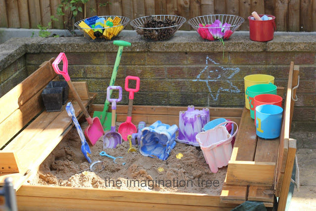 Sandbox Activities for Kids -- Put loose parts in the sandbox. Spark kids' creativity with this idea from The Imagination Tree. Add a variety of loose parts gathered from the yard and the house. Then watch as the kids build, tunnel, dig, and create. Lots of open-ended possibilities.